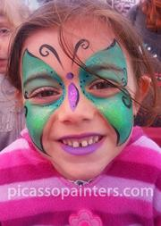 Turquoise Butterfly Face Painting